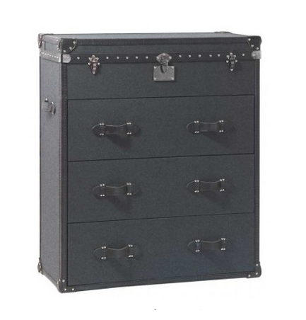 Charcoal Wool Flannel Chest of Drawers Tall