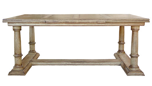 PARIS Column Base Table with Italian Leaves in Bleached Oak