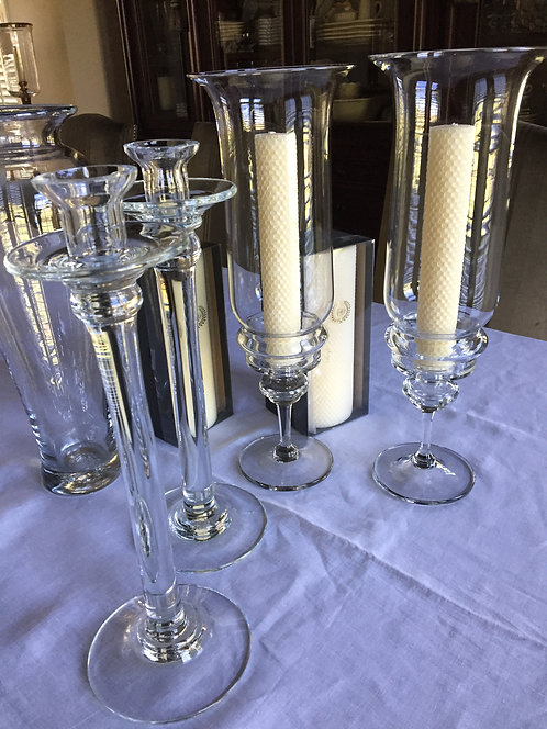S/4 Clear Glass Candlesticks and Hurricanes