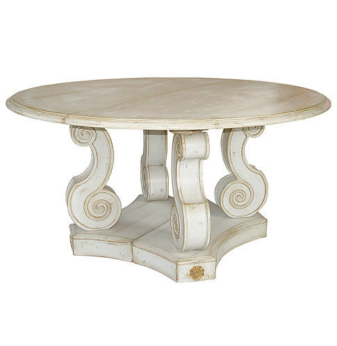 PARIS Table Ronde Baroque in Cerused Oak