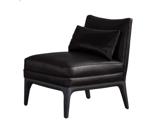 Charcoal Black Leather Slipper Chair