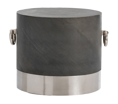 Gray Slate and Stainless Steel Side Table