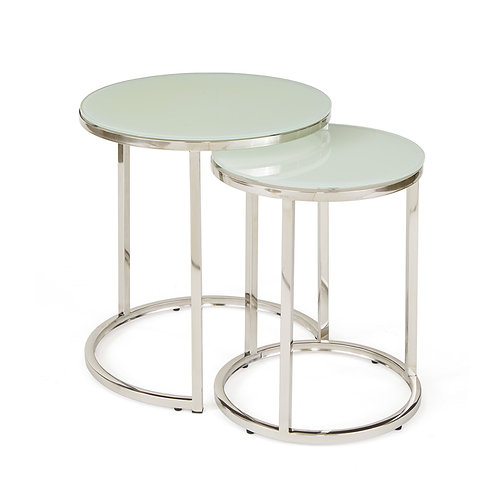 Polished Nickel and Glass Set of 2 Nesting Tables