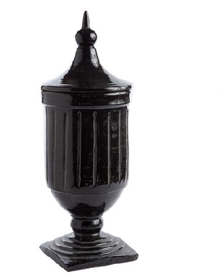 Antiqued Black Urn with Lid