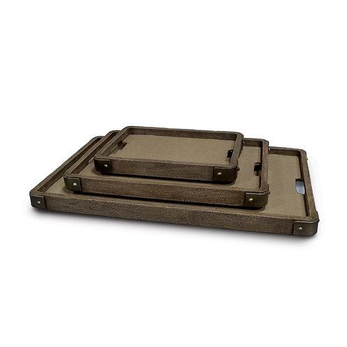 Distressed Hardwood Trays with Metal Corners S/3