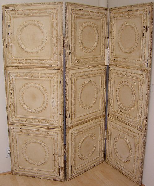Antique Tin Ceiling Tile (3) Panel Screen
