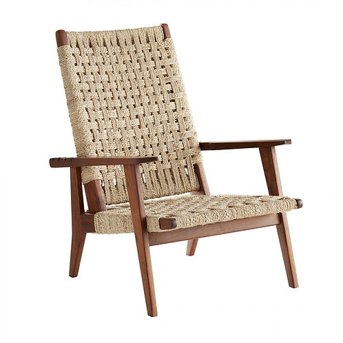 Hand Woven Jute Reclining Chair with Frame in Walnut