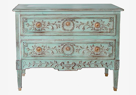 PARIS Commode L. XVI Fragonard Chest Turquoise