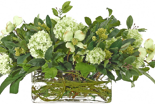 Snowball and Dogwood in Clear Glass Rectangle