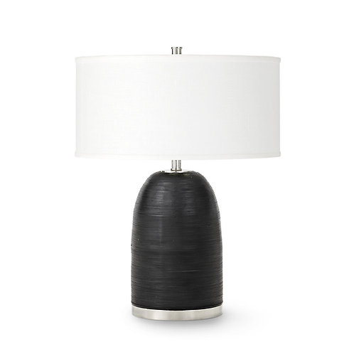 Black Leather Wrapped Table Lamp