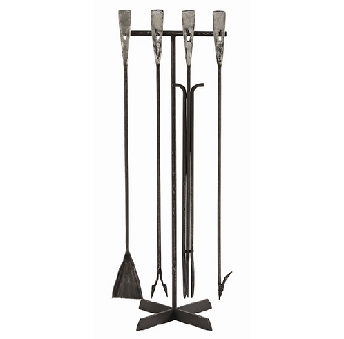 Hand Forged Iron Fireplace Tool Set