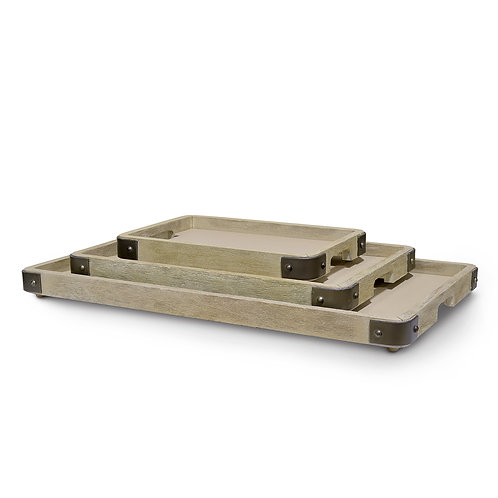 Distressed Hardwood Trays Set of 3