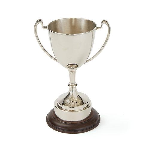 Trophy Cup Polished Nickel on Wood Base