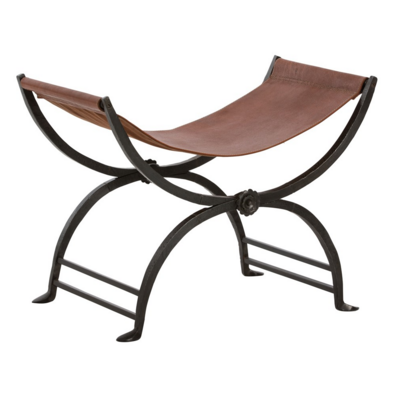 Leather and Cast Iron Stool