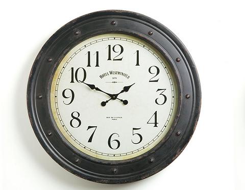 Large Antique Black Wall Clock