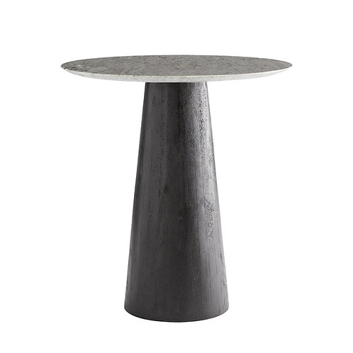 Ebony Base with Gray Marble Top Side Table