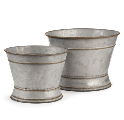 Set of 2 / Galvanized Planters / Tubs