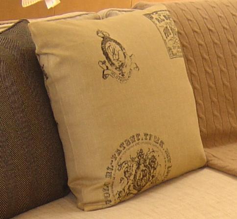 Ralph Lauren Crest Decorative Pillow in Olive Green Velvet