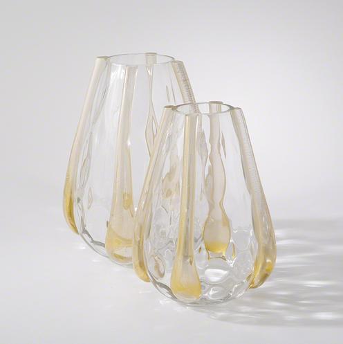 Golden Granila Glass Vases Set of 2