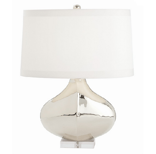 Modern Polished Nickel Table Lamp