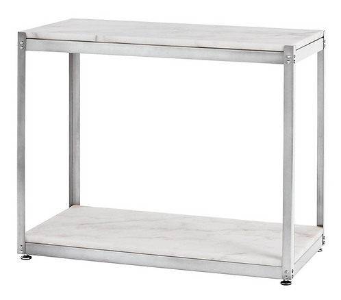 Silver and White Marble Side Table