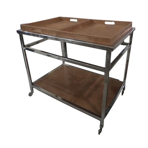 Steel and Brown Leather Tray Bar Cart