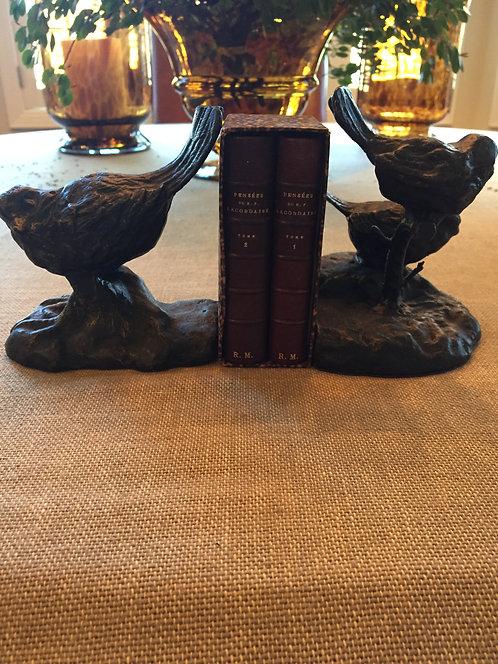 PAIR Bronze Bird Bookends