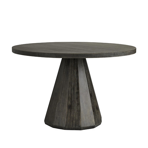 Round Ebony Dining Table with Lava Stone Top