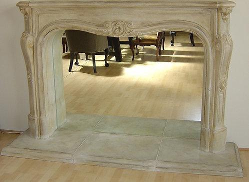 Louis XV Cast Stone Fireplace Mantel