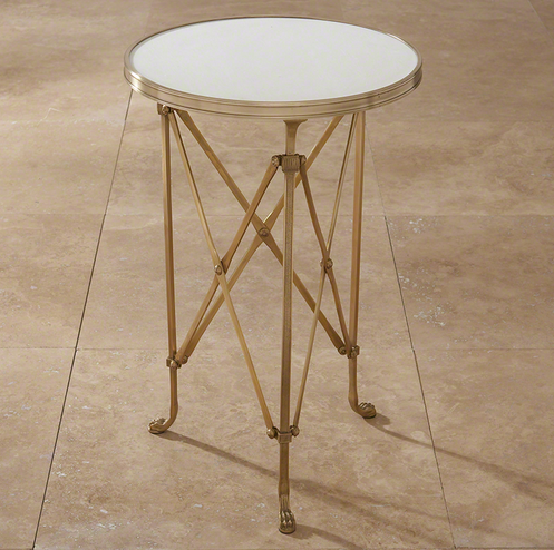 Directoire Table Brass and White Marble