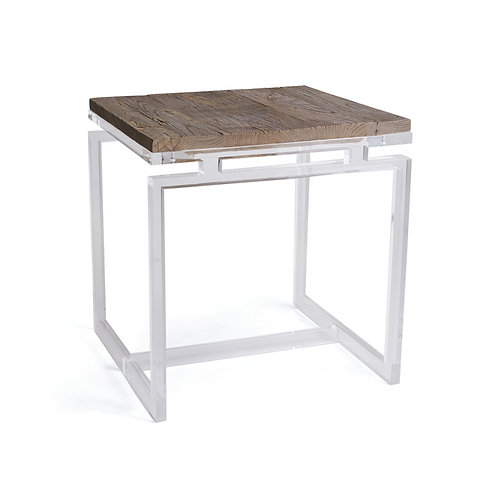 Acrylic and Rustic Wood Top Occasional Table