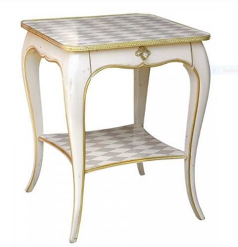 PARIS Louis XV Side Table in Gray / White Diamond