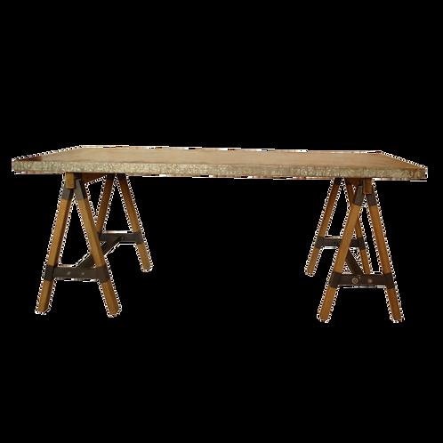 Dickinson Dining Table w/ Saw Buck Base Zinc Top