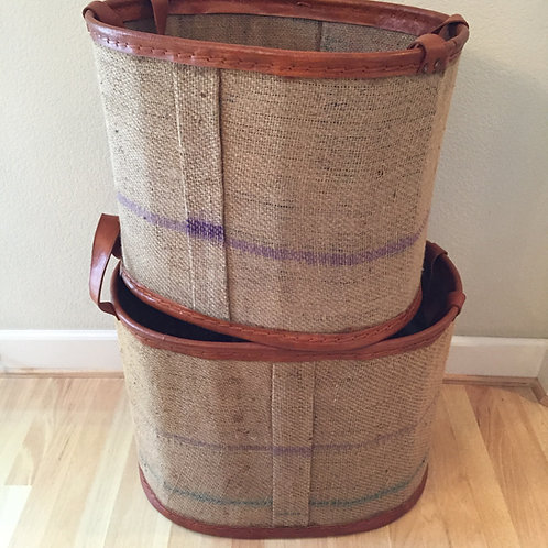 S/2 Oval Storage in Jute with Leather Trim and Handles