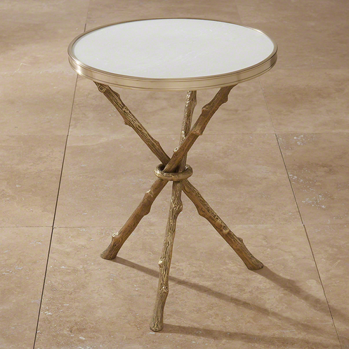Twig Table Brass and White Marble
