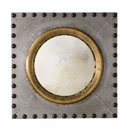Zinc with Bronze Nailhead Mirror