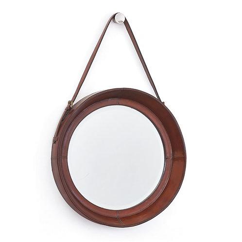 Leather Framed Mirror with Brass Buckle