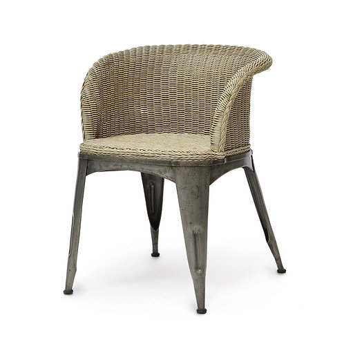 Steel and Wicker Dining Chair