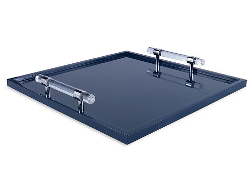 Blue Lacquer Tray with Acrylic Handles