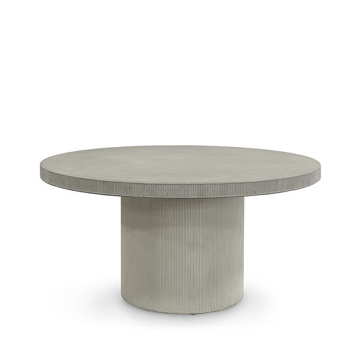Round Composite Stone Dining Table in Cement Gray