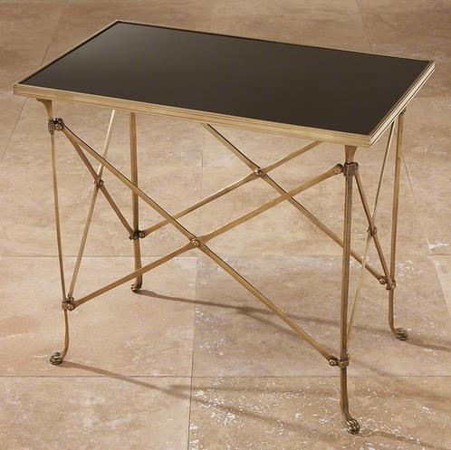 Rectangular Directoire Table Brass / Black Granite