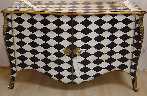 PARIS Louis XV Harlequin Commode Buffet in Noir/Blanc