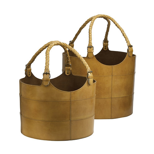 Leather Buckets in Chestnut Set of Two