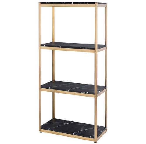 Brass and Black Marble Etagere