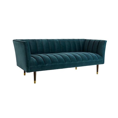 Channel Tufed Sofa in Peacock Velvet