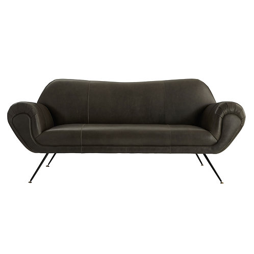Leather Sofa in Matte Black