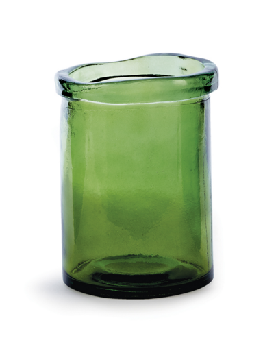 S/4 Moss Green Recylced Glass Candle Holders