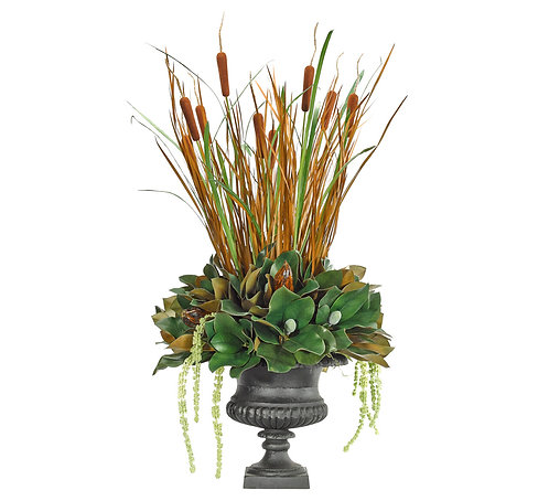 Large Scale Magnolia Cattail in Iron Urn
