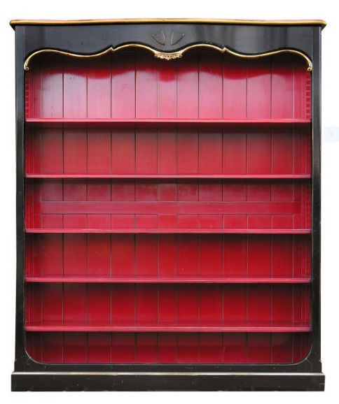 PARIS Louis XV De Fontenoy Bookcase Tall in Noir / Carmine