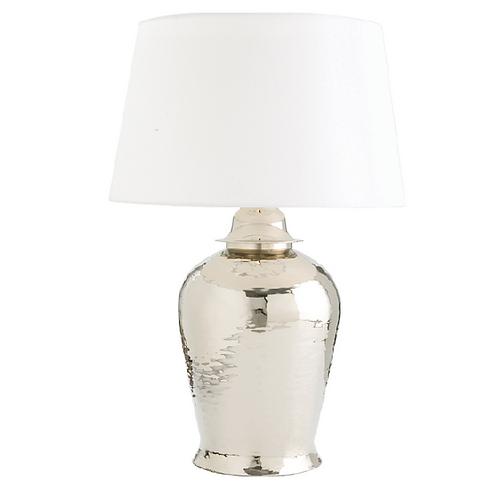 Polished Nickel Ginger Jar Table Lamp